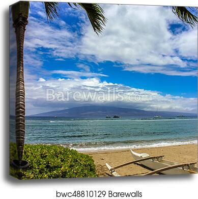 Beautiful View Of Molokai Island From Kaanapali Beach Maui Haw Canvas Print