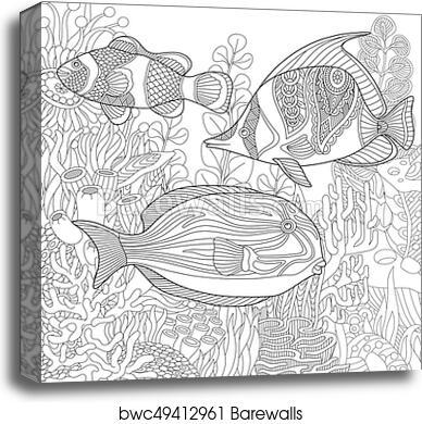 Canvas Print Of Zentangle Stylized Underwater Scene