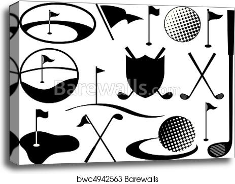 Canvas print of black and white golf icons
