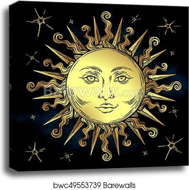 Golden sun print