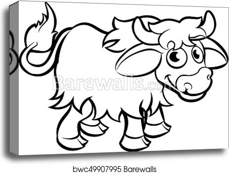 Canvas Print Of Yak Cartoon Character