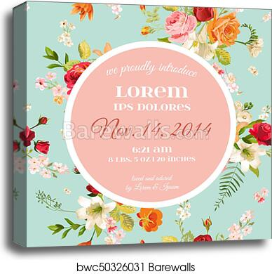 Baby Shower Invitation Template Floral Greeting Card With Lily And Orchid Flowers Decoration For Childbirth Party Celebration Vector Illustration