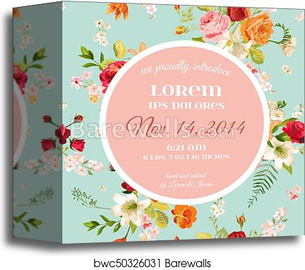 Baby Shower Invitation Template Floral Greeting Card With Lily And