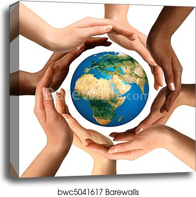 Multiracial Hands Surrounding the Earth Globe canvas print