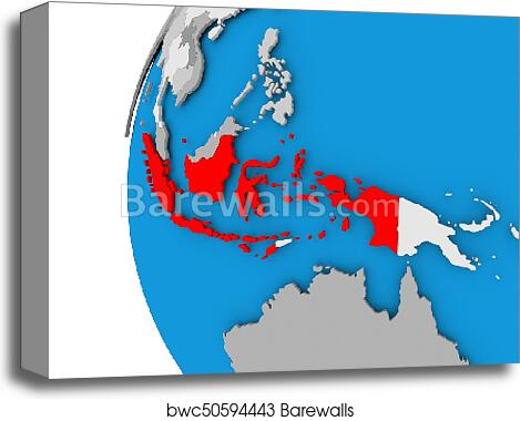 Map of Indonesia on political globe canvas print Indonesia On World Map D on vector map indonesia, tv indonesia, travel map indonesia, satellite indonesia, map with physical features of indonesia,