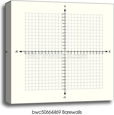 picture regarding Cartesian Plane Printable named Blank x and y axis Cartesian coordinate aircraft with quantities upon white historical past vector canvas print