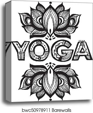 Word Yoga With Lotus Flower Silhouette Canvas Print Barewalls