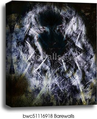 Woman Face Silhouette And Abstract Color Background Fractal Effect Canvas Print