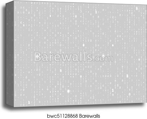 Vector binary code gray seamless background  Big data and programming  hacking, decryption and encryption, computer streaming white numbers 1, 0
