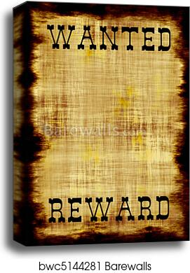 Canvas Print Of Blank Wanted Outlaw Poster Barewalls Posters