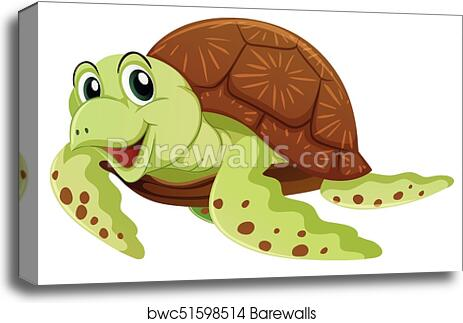 Sea Turtle With Happy Face Canvas Print Barewalls Posters