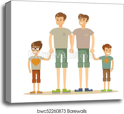 Happy Gay Couple With Children Canvas Print Barewalls Posters Prints Bwc52260873