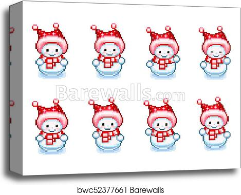 Dancing snowman animation sprite in Pixel-Art style canvas print