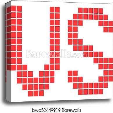 Red Versus Sign In Pixel Art Canvas Print Barewalls Posters