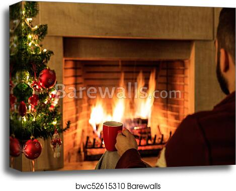 Burning Christmas Tree.Cup Of Coffee On Christmas Tree And Burning Fireplace Background Canvas Print