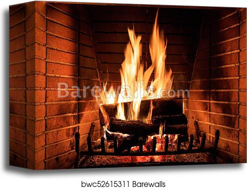 Canvas Print Of Logs Burning In A Fireplace