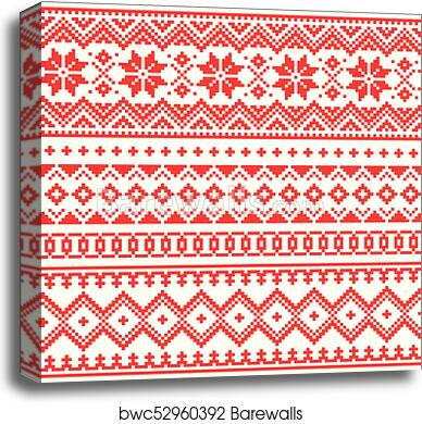 Canvas Print Of Lapland Vector Seamless Winter Pattern Sami People