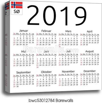 canvas print of calendar 2019 norwegian sunday