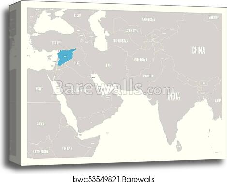 Syria blue marked in political map of South Asia and Middle East. Simple  flat vector map canvas print