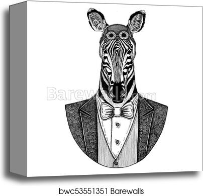 26c4489ad Zebra Horse Animal wearing aviator helmet and jacket with bow tie Flying  club Hand drawn illustration for tattoo