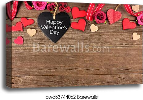Canvas Print Of Happy Valentines Day Heart Shaped Chalkboard Tag