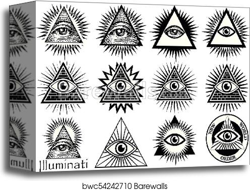 Canvas Print Of Illuminati Symbols Masonic Sign All Seeing Eye