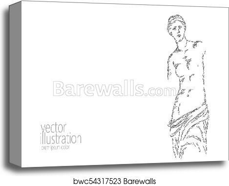 Aphrodite Of Milos Venus De Milo Ancient Greek Statue Low Poly Modern Art Polygonal Triangle Point Line Abstract White Gray Monochrome Neutral