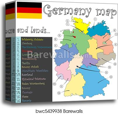 Map Of Germany To Print.Germany Map And Lands Canvas Print