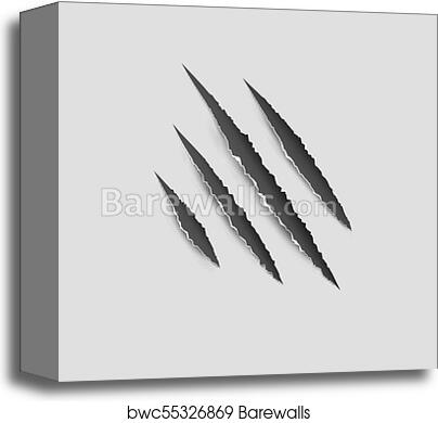 c6fbef265498 Claws paw scratches isolated vector on white background. Animal Claws  horror scratch tiger, lion or bear, Canvas Print
