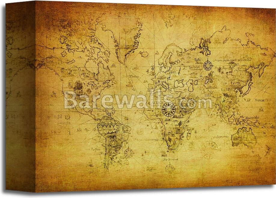 Ancient map of the world art printcanvas home decor wall art poster ancient map of the world art print canvas gumiabroncs Choice Image