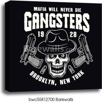 50094fea99bc5 Mafia emblem with gangster skull in fedora hat