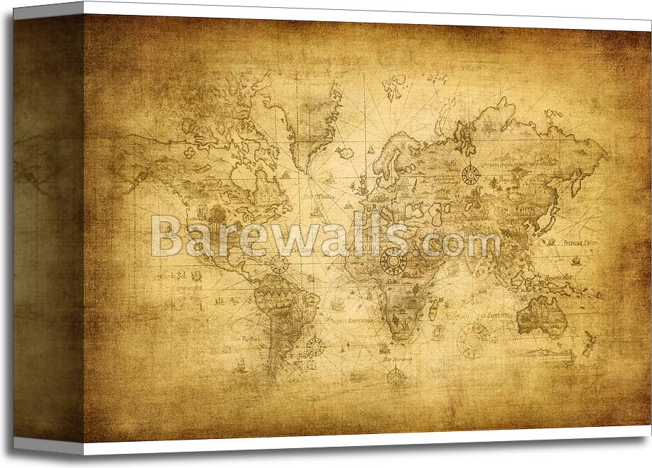Ancient Map Of The World - 1 Art Print/Canvas Print Home Decor Wall ...