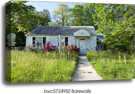 Front View Abandoned Foreclosed Cape Cod Home Long Grass canvas print