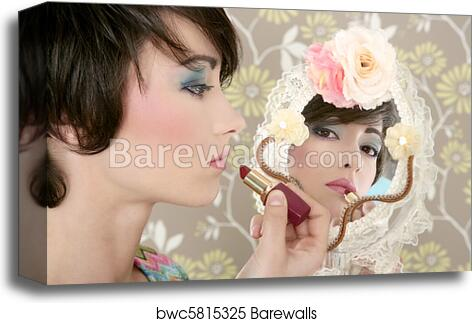Retro Woman Mirror Lipstick Makeup