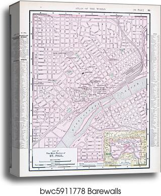 Antique Street City Map St. Paul, Minnesota, USA canvas print on new hampshire united states map, minneapolis map, nevada united states map, wage statistics united states map,