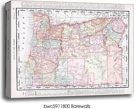 Antique Vintage Color Map of Oregon, USA, Canvas Print | Barewalls ...