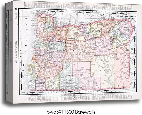 Antique Vintage Color Map of Oregon, USA canvas print