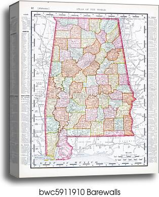 graphic relating to Printable Map of Alabama called Antique Map of Alabama, AL, United Suggests, United states canvas print