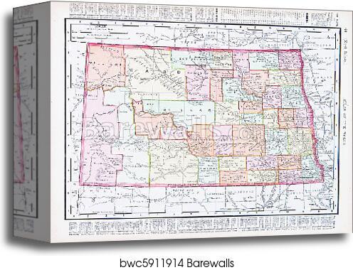 Canvas Print of Antique Vintage Color Map of North Dakota, USA ...
