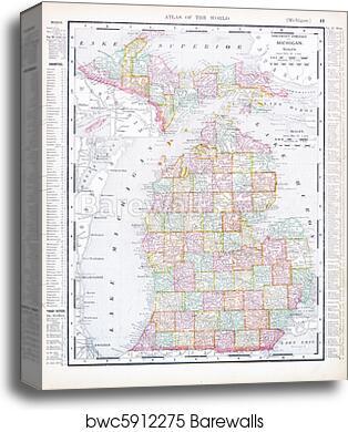 Canvas Print Of Antique Map Of Michigan Mi United States Usa