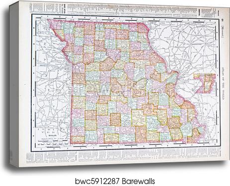 Canvas Print Of Antique Color Map Missouri Mo United States Usa