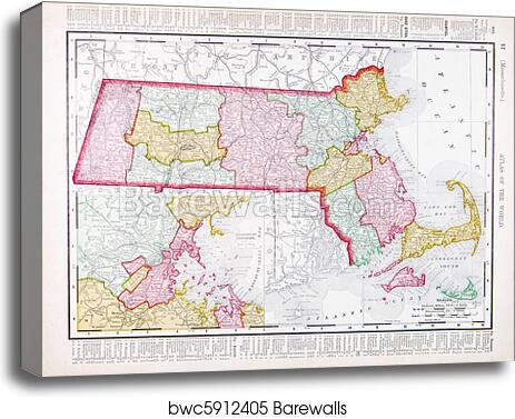 Vintage Color Map Of Massachusetts United States Canvas Print - Massachusetts-in-us-map