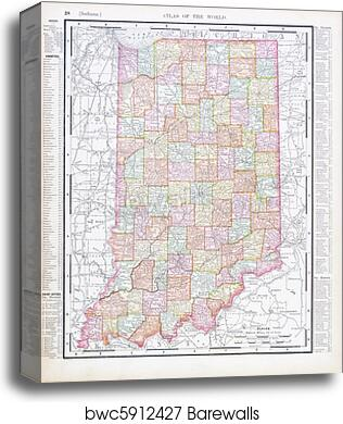 image about Printable Map of Indiana named Antique Typical Shade Map of Indiana, United states canvas print