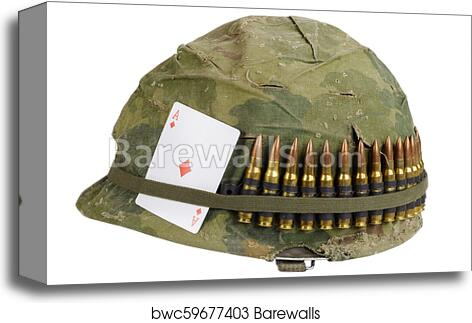 Us Army Helmet Vietnam War Period With Camouflage Cover And Ammo Belt Dog Tag And Amulet Playing Card Ace Of Diamonds Canvas Print Barewalls Posters Prints Bwc59677403