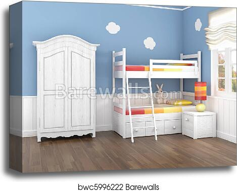 Blue Children's Bedroom Canvas Print Enchanting Bedroom Canvas Prints