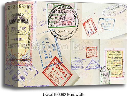 passport stamps background canvas print barewalls posters