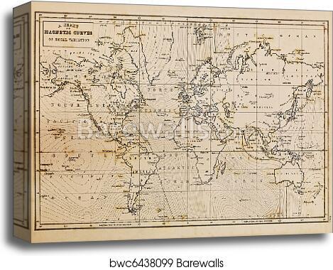 Old hand drawn vintage world map canvas print