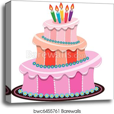 Vector Big Birthday Cake With Burning Candles Canvas Print