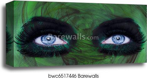 Abstract Blue Eyes Makeup Woman Green Texture Canvas Print