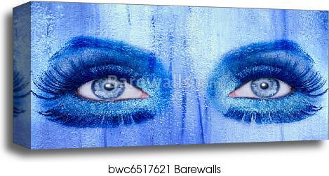 Abstract Blue Eyes Makeup Woman Grunge Texture Canvas Print